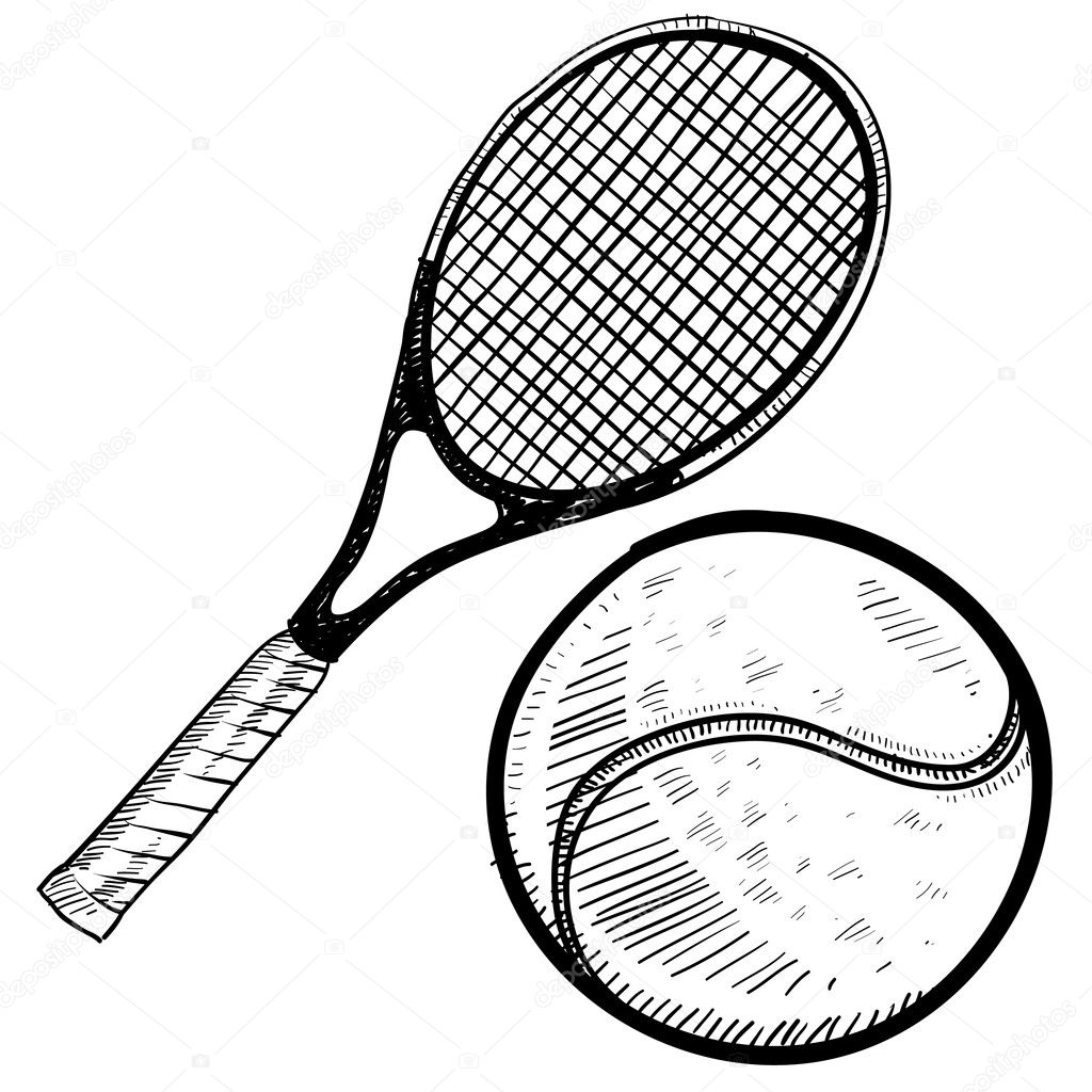 Tennis Racket And Ball Sketch Stock Vector C Lhfgraphics 14134675