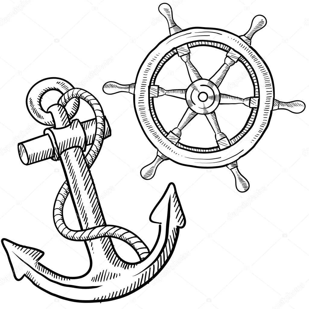 Anchor and ship's wheel sketch