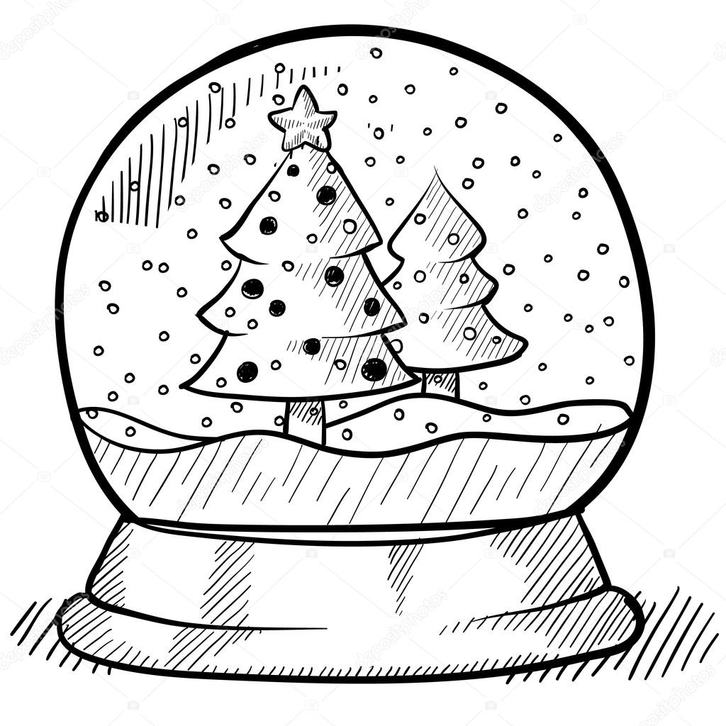 snow globe coloring pages - christmas snowglobe sketch stock vector lhfgraphics