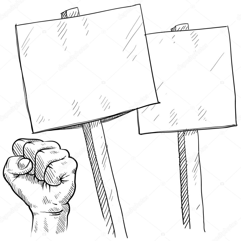 Picket or protest objects sketch