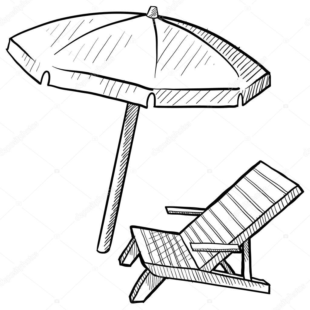 strand stuhl und schirm skizze stockvektor lhfgraphics 14136456. Black Bedroom Furniture Sets. Home Design Ideas