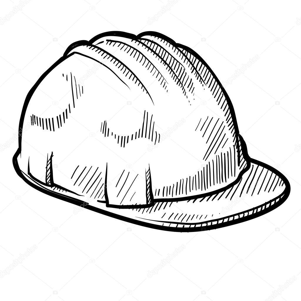 Dibujo casco de construcción — Vector de stock 4cc8174b8dc
