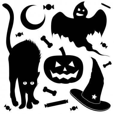 Halloween items vector silhouettes