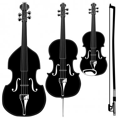 Stringed instruments vector silhouette