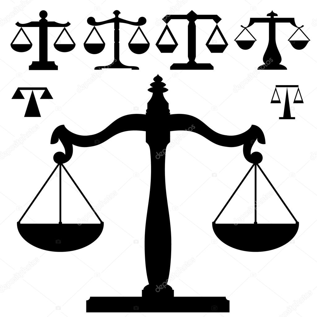 Justice scales in vector silhouette