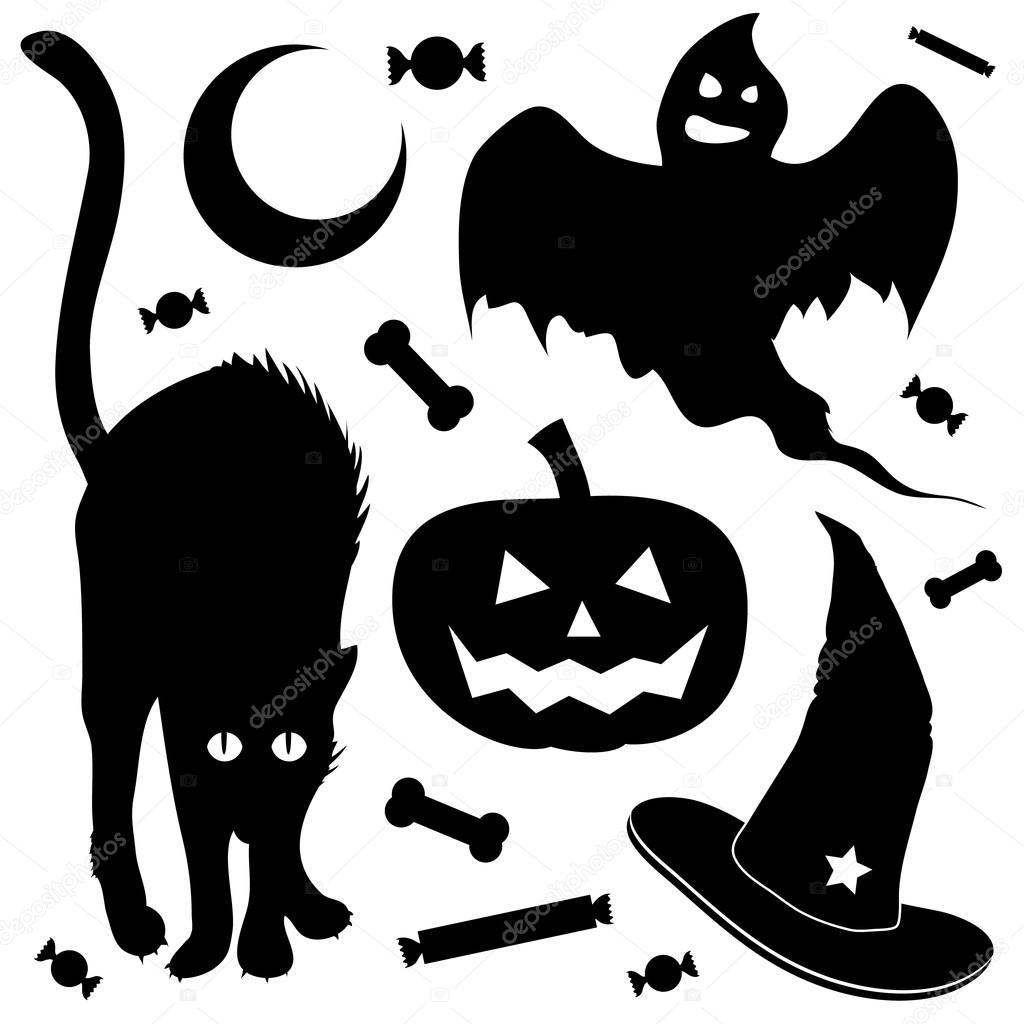 halloween items vector silhouettes stock vector 14171535 - Halloween Items