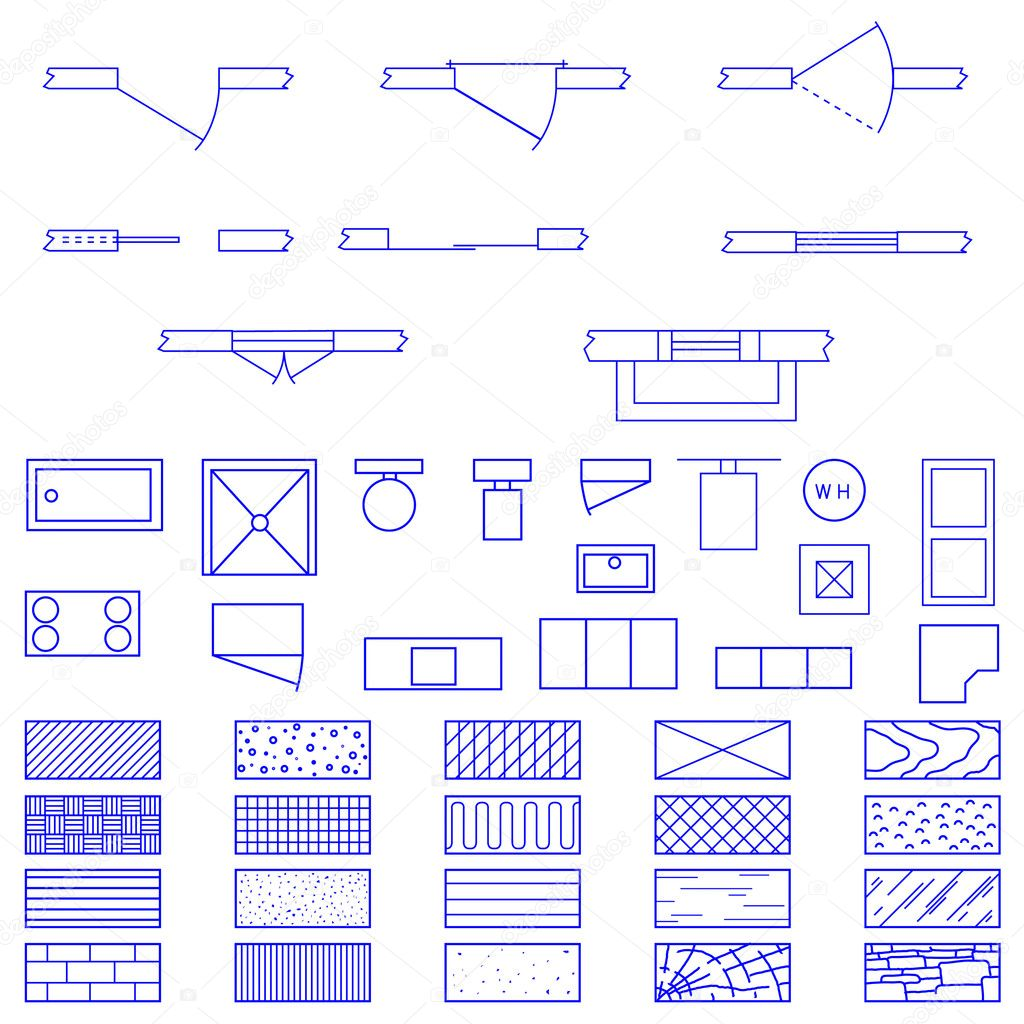 blueprint symbols set stock vector lhfgraphics 14171771. Black Bedroom Furniture Sets. Home Design Ideas