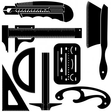 Drafting and engineering tools silhouettes