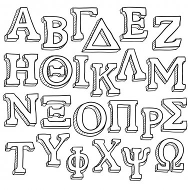 Greek alphabet set sketch