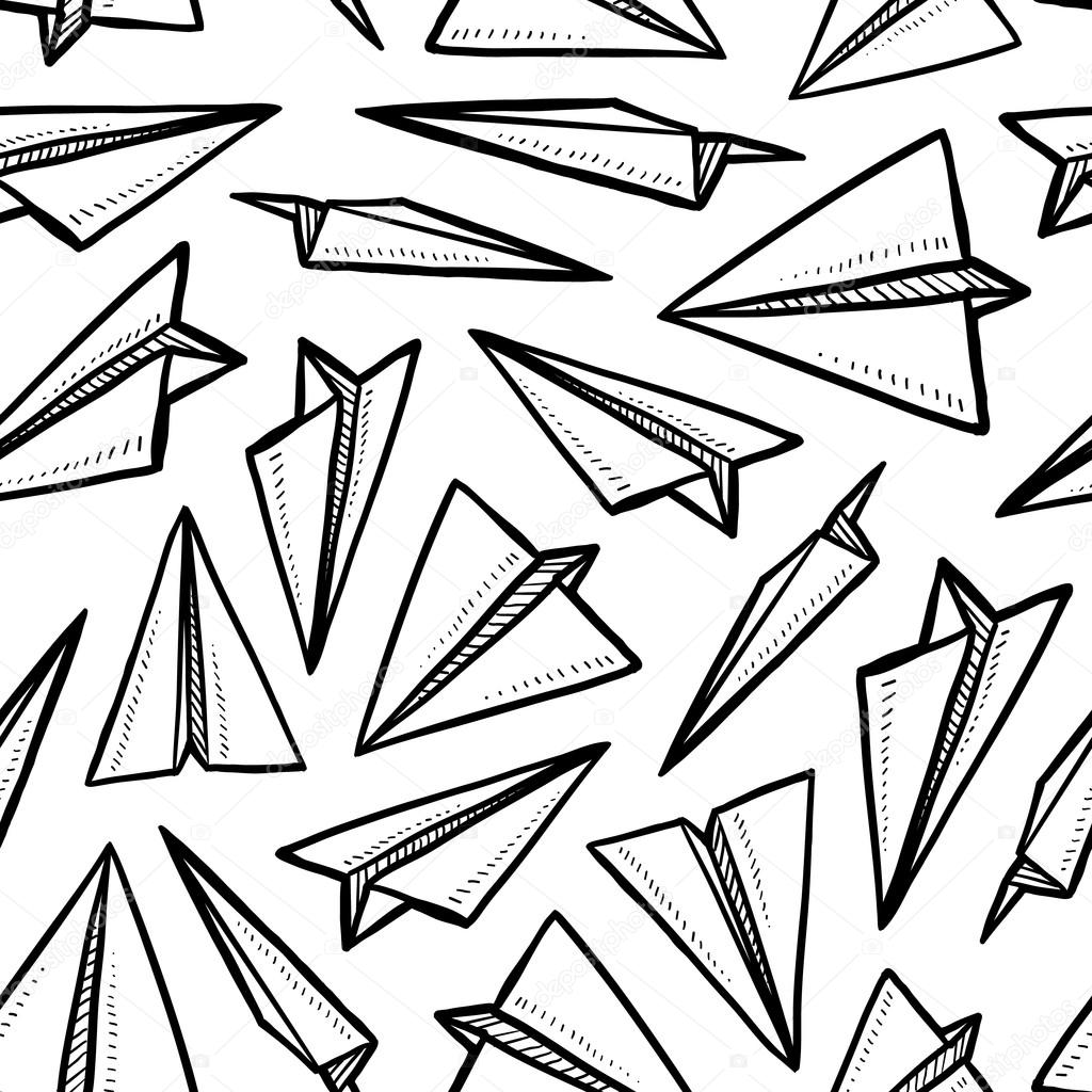 Seamless Paper Airplane Background Stock Vector