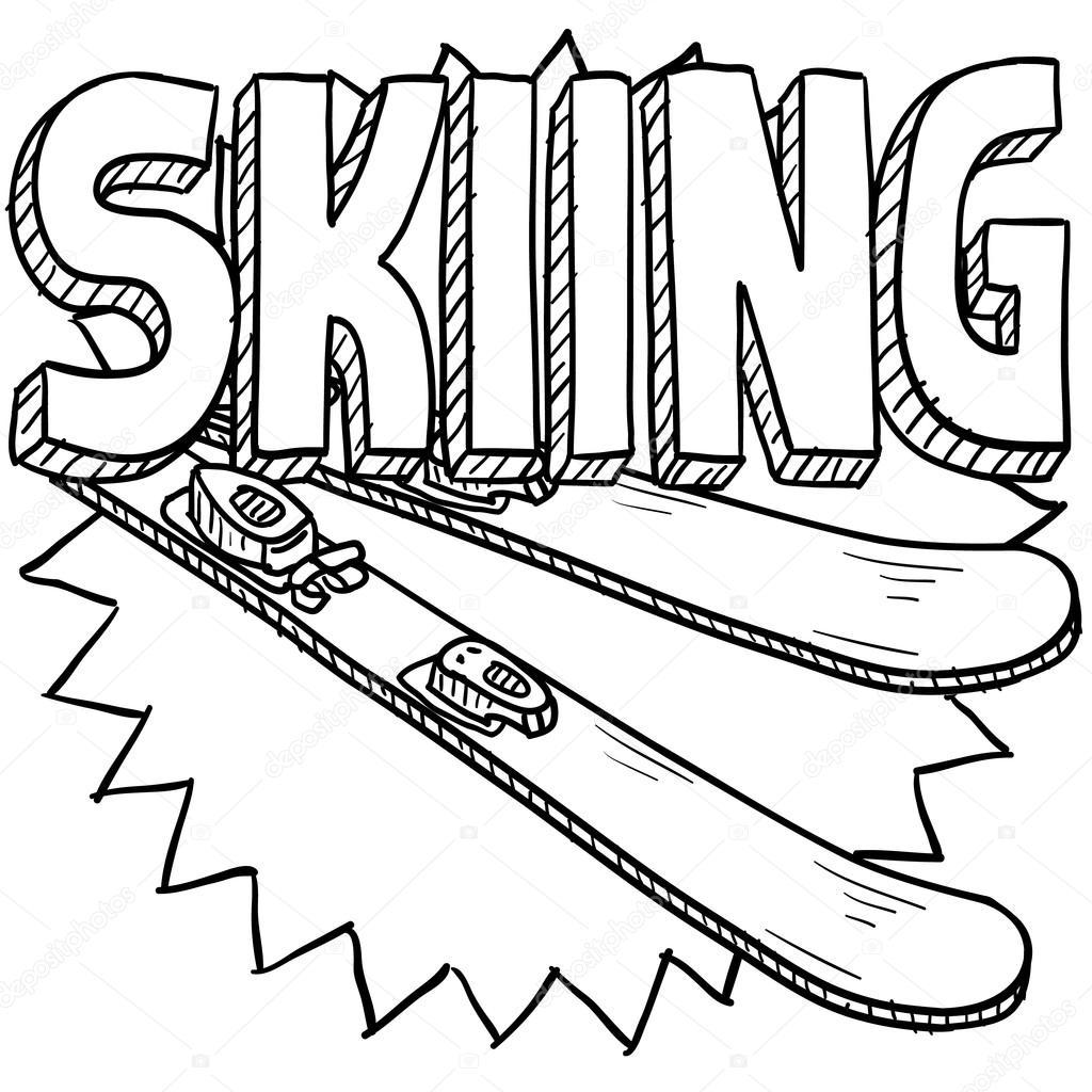 snow skiing sketch — stock vector © lhfgraphics 21156399