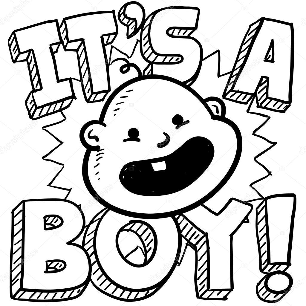 Kleurplaten Baby Shower.It S A Boy Baby Sketch Stock Vector C Lhfgraphics 22296715