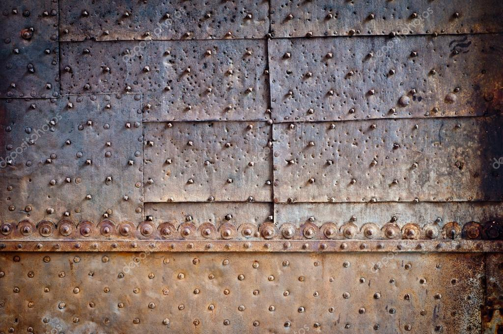 Old Door Rusty Metal Cover With Rivets Stock Photo