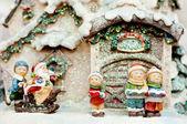 Fotografie Cildren Christmas choir and Santa Claus.