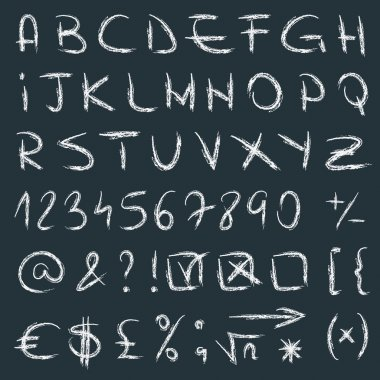 Vector handwritten alphabet with letters numbers and symbols. Hand drawn letters. Sketch alphabet calligraphy on blackboard clip art vector