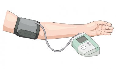 Measurement of blood pressure.