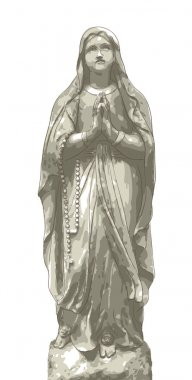 Statue Maria with beads.