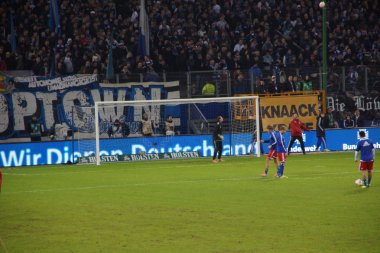 The player of the Hamburg Sport Club HSV are warming up