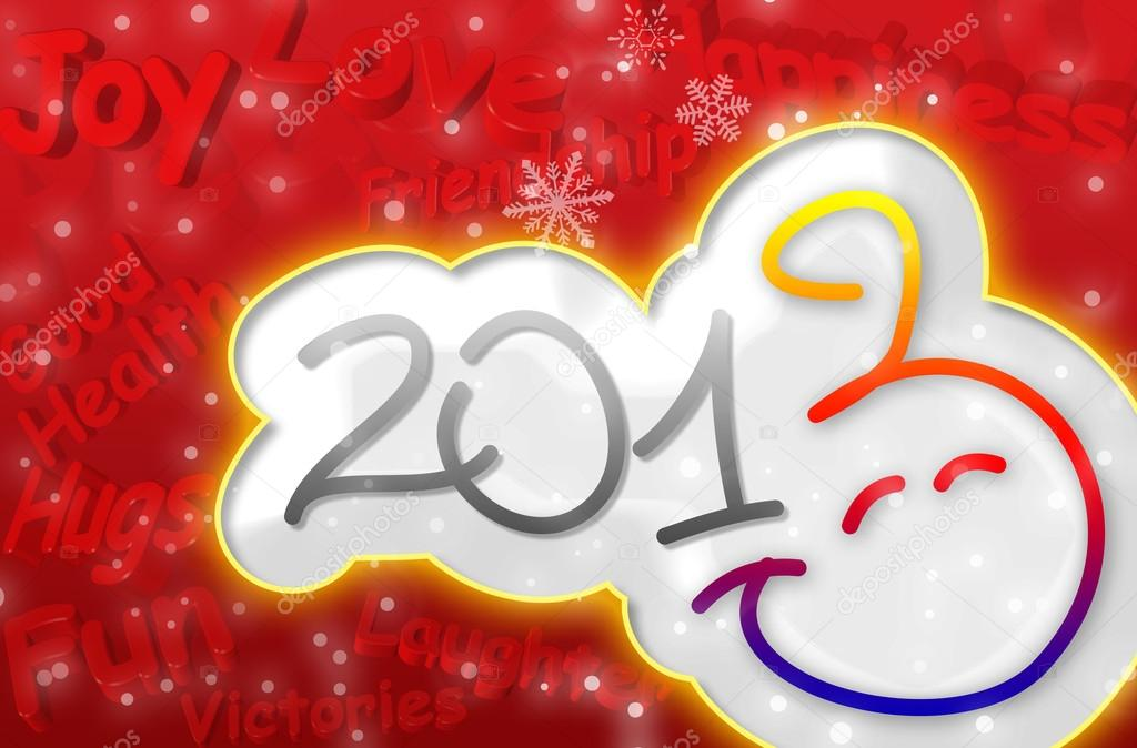 die besten Wünsche für das neue Jahr-Smiley 2013 - Grußkarte ...