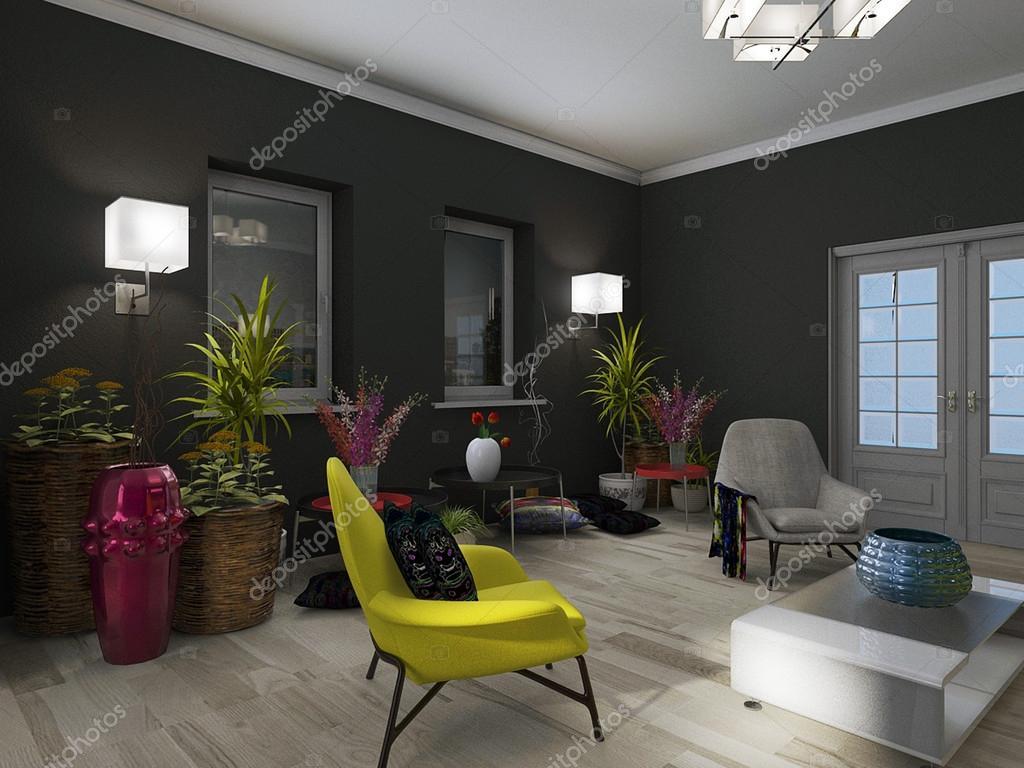 woonkamer interieur met bloemen behang — Stockfoto © natali_grafik81 ...