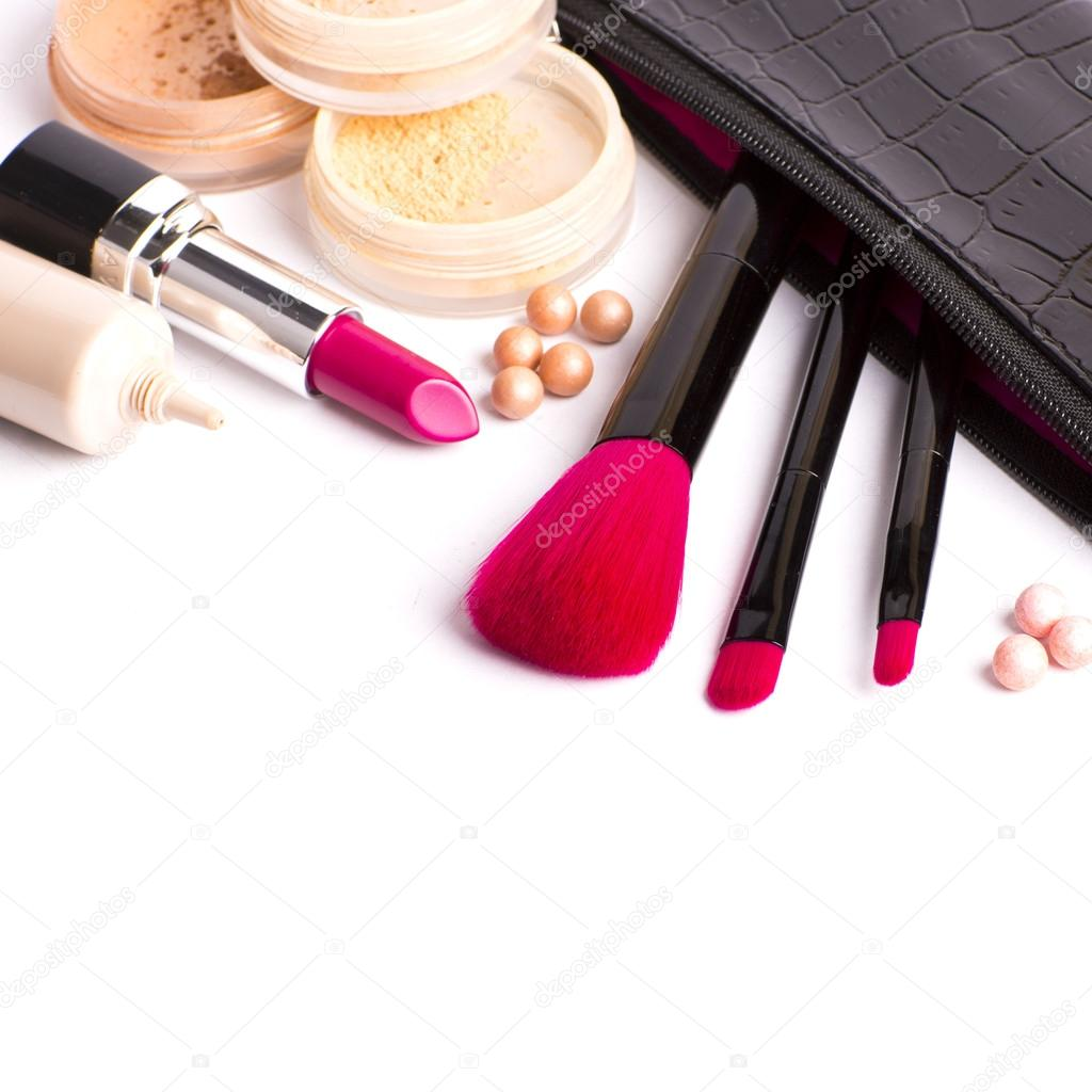 Makeup brush and cosmetics, on a white background isolated, with - Stock Image