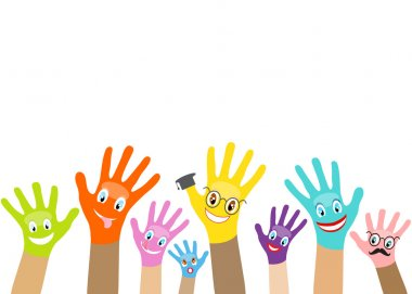 Collection of multicolored hands with smiles on the background o