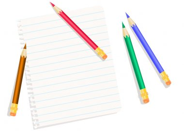 Sheet of exercise book and colored pencils isolated in white. Ed