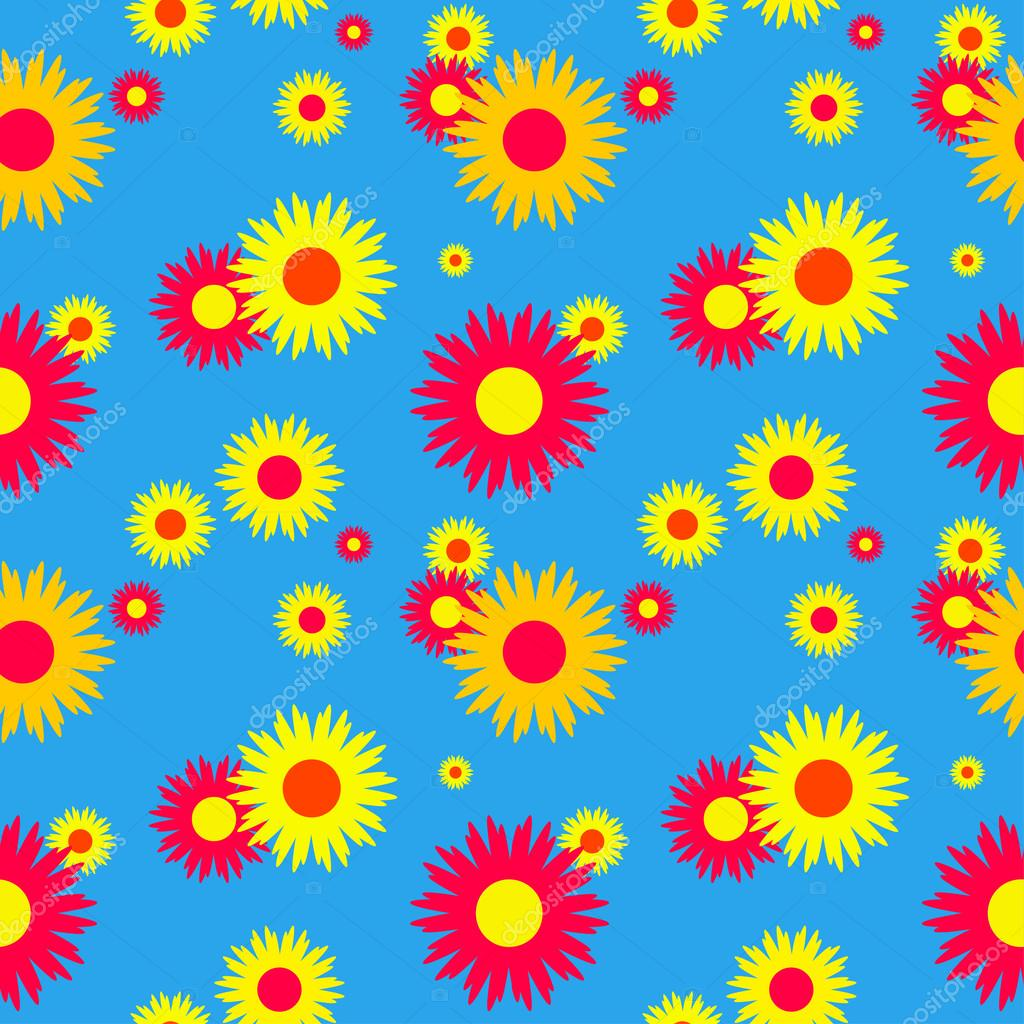 Seamless floral pattern on a blue background. Vector illustration.