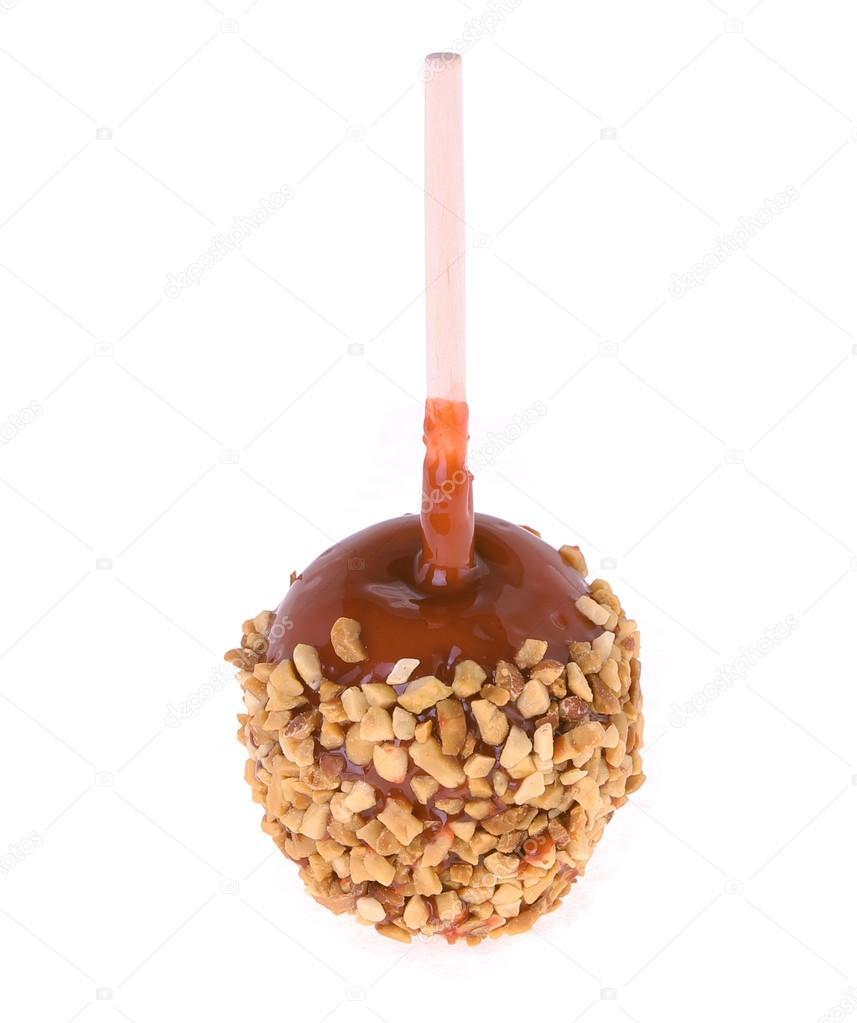 Caramel candy apple isolated on white background