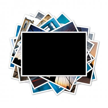 Collection of photos with blank frame in the middle on white bac