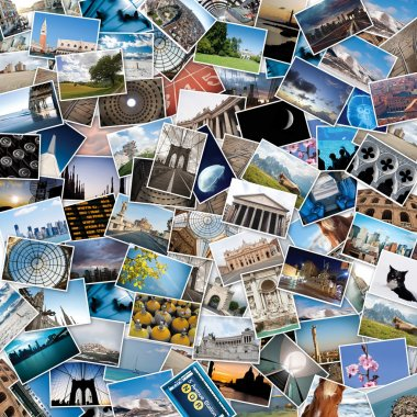 Stack of travel images from the world.