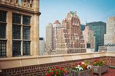 New York City terrace over Manhattan skyline.