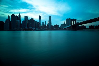 Brooklyn Bridge and Manhattan Skyline, New York City. Long exposition