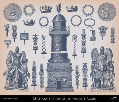 Engraving Military trapping of ancient Rome set