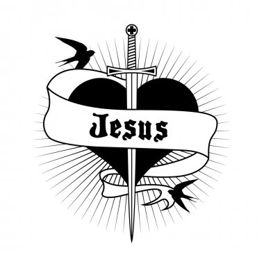 Heart tattoo with sword and Jesus written on label