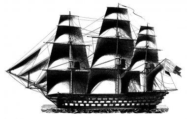 Engraving vintage vessel