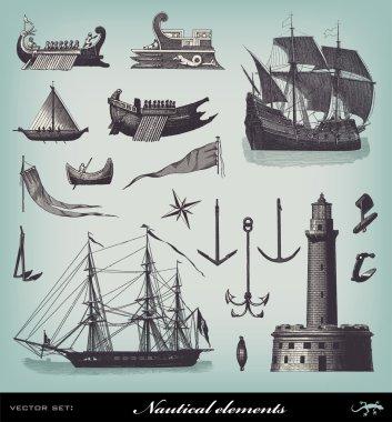 Engraving vintage Nautical set