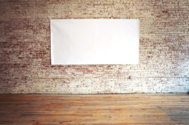 Blank billboard on brick wall and wood pavement for your advertisment