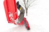 Fotografie Junge mit Bob im Schnee fallen