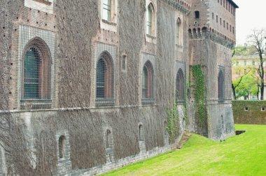 Exterior view of Sforza Castle in Milan, Italy