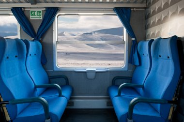 Window train with snow landscape and empty seats
