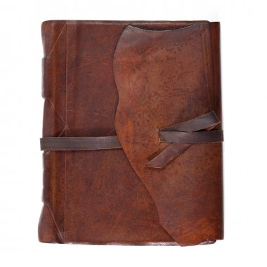 Leather diary book on white background