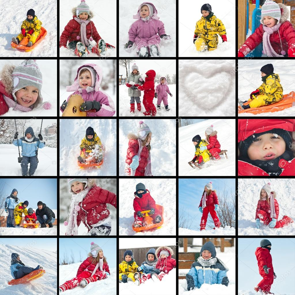 Collage of kids playing in the snow images