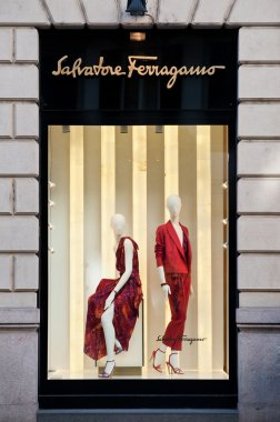 MILAN - FEBRUARY 25: Ferragamo shop window in Monte Napoleone street, one of the most important fashion street in the world. February 25, 2012 in Milan, Italy.