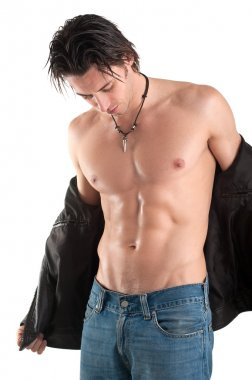 Portrait of confident young man shirtless against white background