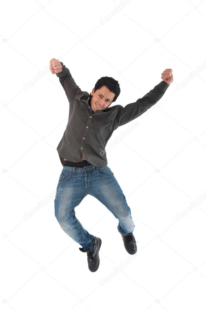 Happy Young Man Jumping Against White Background Stock