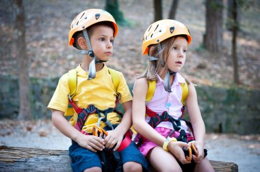 6 year old kids with climbing equipment