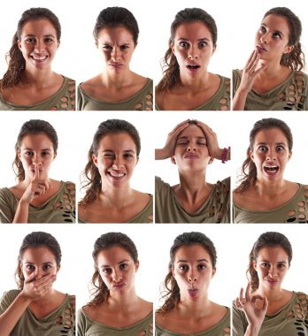 Collage of woman close up portrait with different expressions against white background