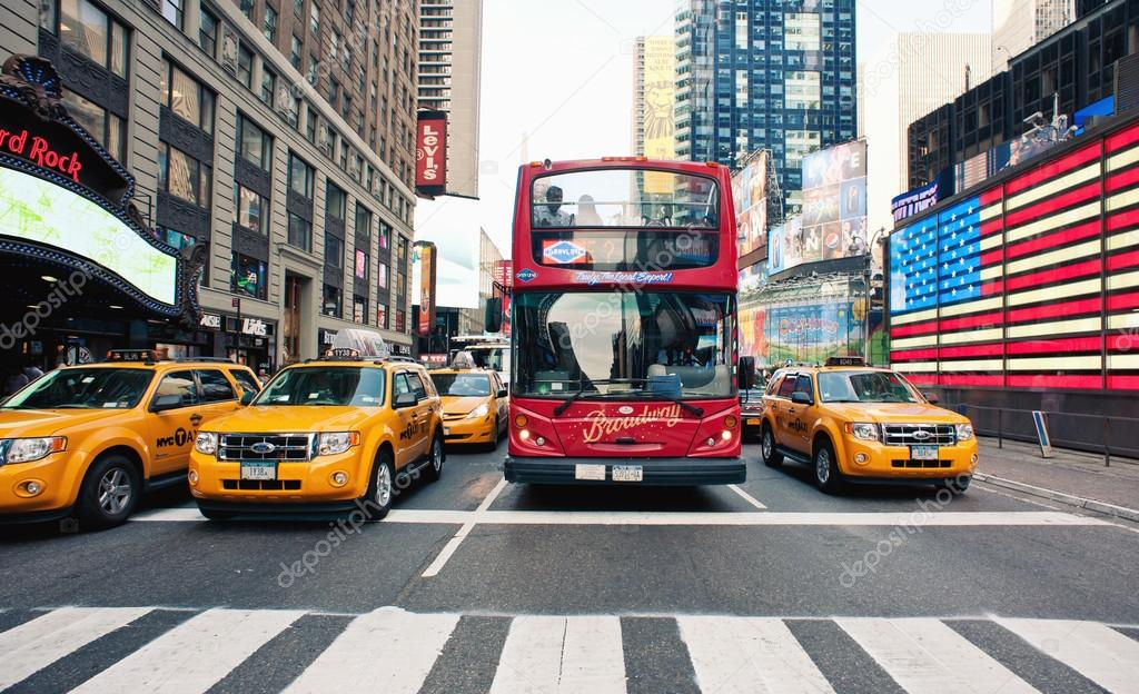 NEW YORK CITY - JUNE 28: Times Square is a busy tourist intersection