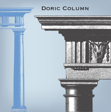 Engraving vintage Doric column